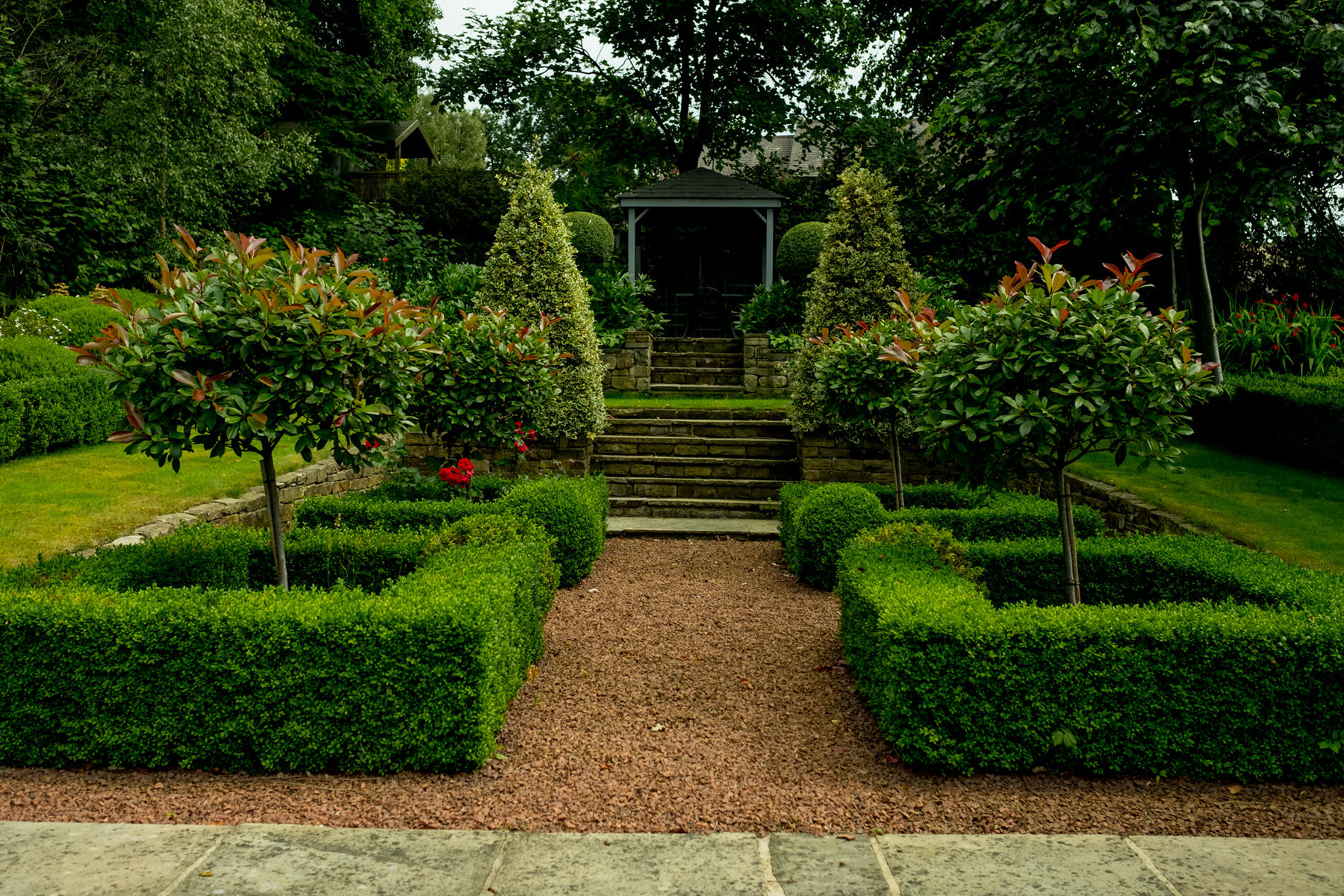 Box hedge parterre and york stone steps. Garden design and ...