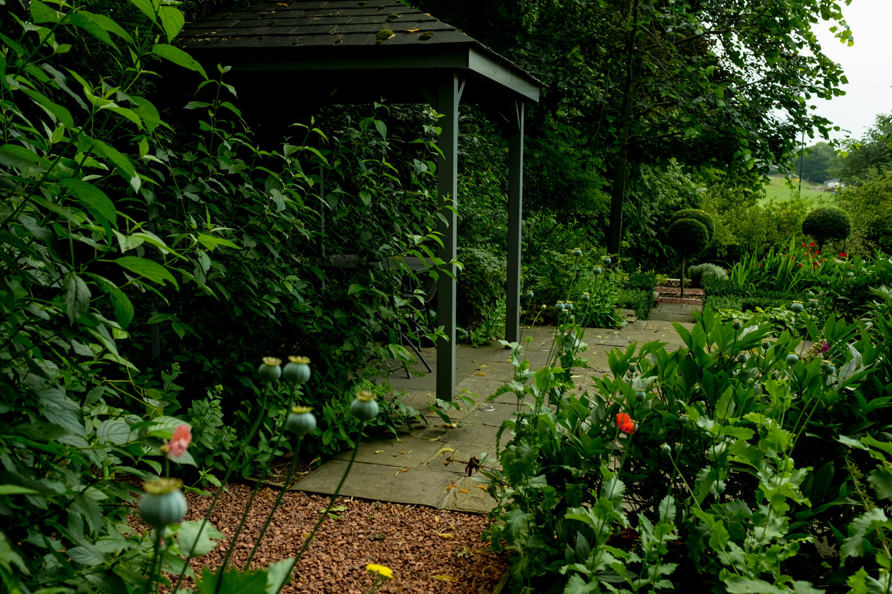 Grey Timber Pergola In English Garden. Harrogate Garden Design A