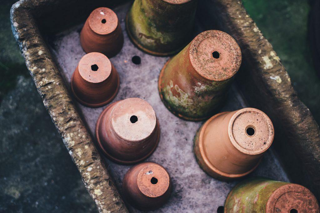 Garden clay pots. Leeds Garden Designer