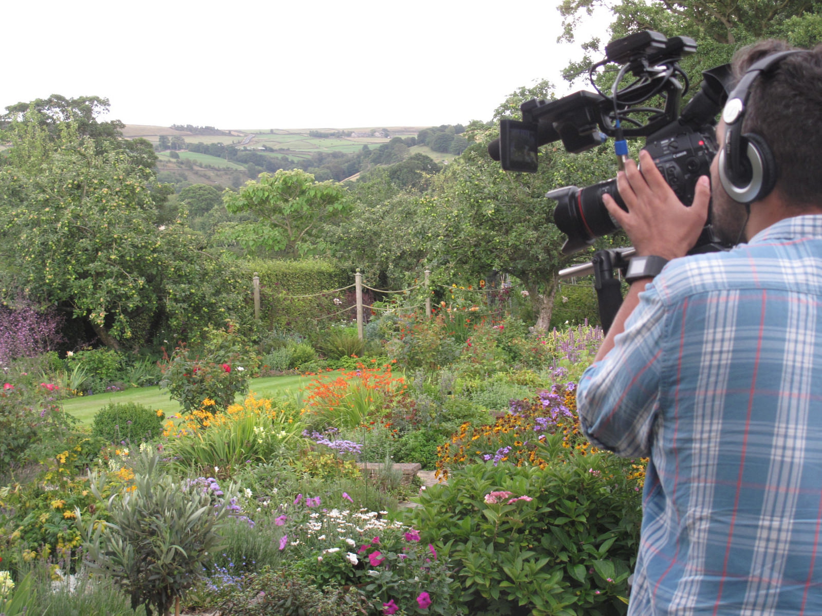 TV cameraman filming garden