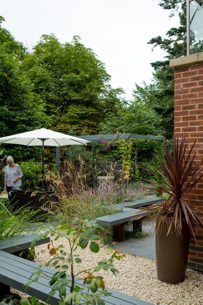 Grey contemporary garden. Leeds garden designer.