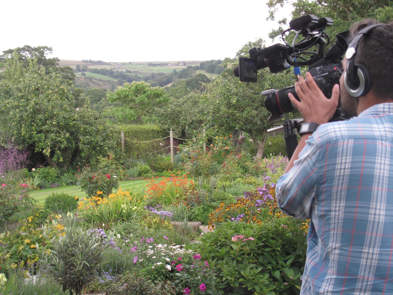 TV cameraman filming garden